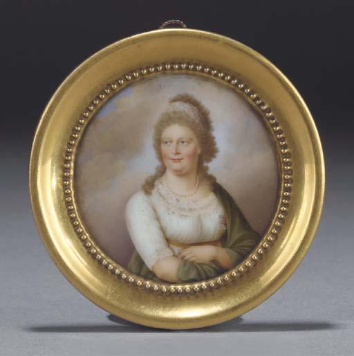 A German porcelain circular portrait plaque