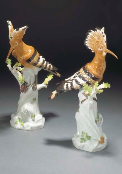 A pair of Meissen hoopoe birds