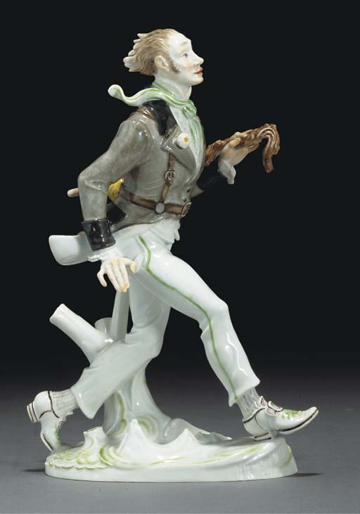 A Meissen model of a striding