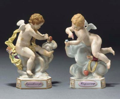 Two Meissen figures of putti a