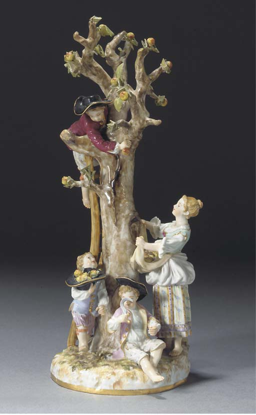 A Meissen group of apple-pickers