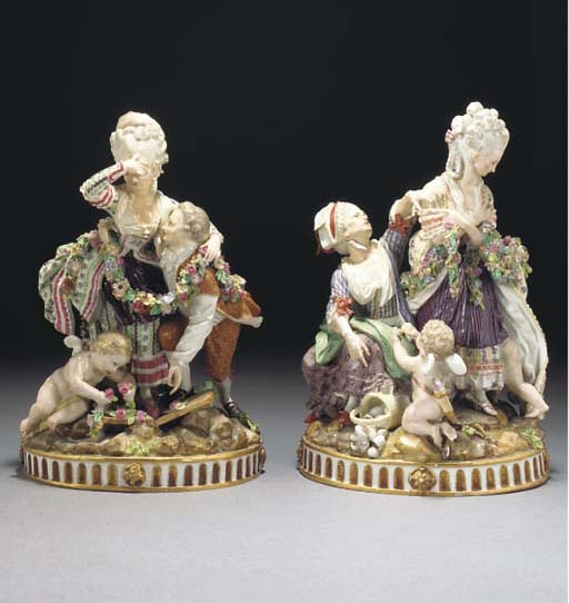 A pair of Meissen allegorical