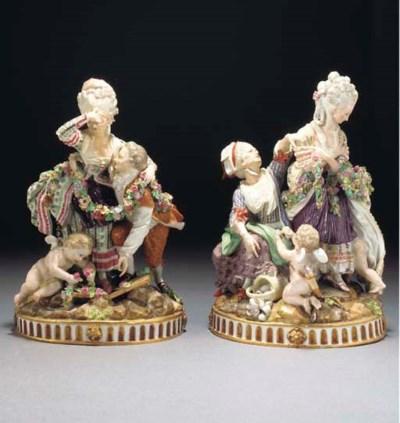 A pair of Meissen allegorical