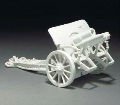A Meissen white model of a fie