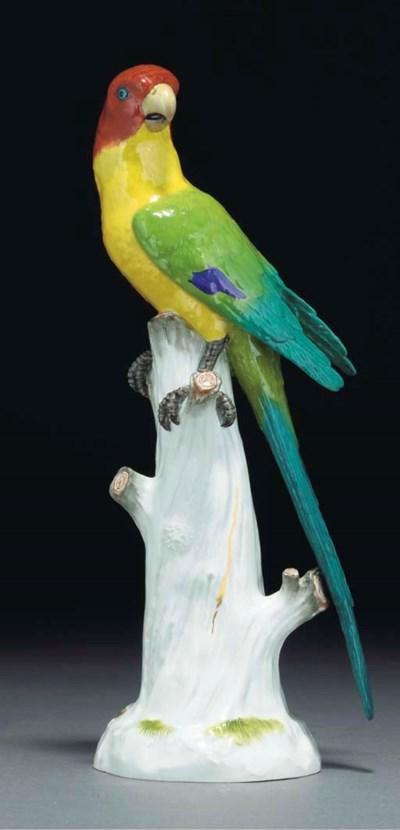 A Meissen model of a parakeet
