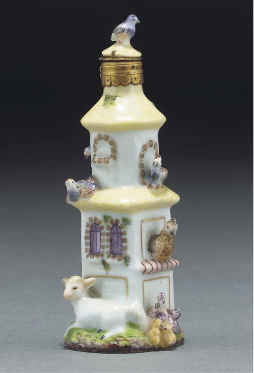 A Continental porcelain scent-