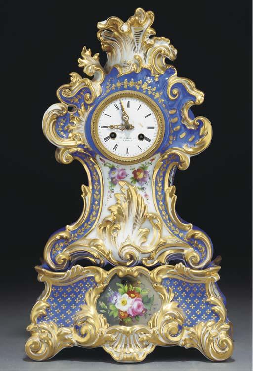 A Paris porcelain blue-ground