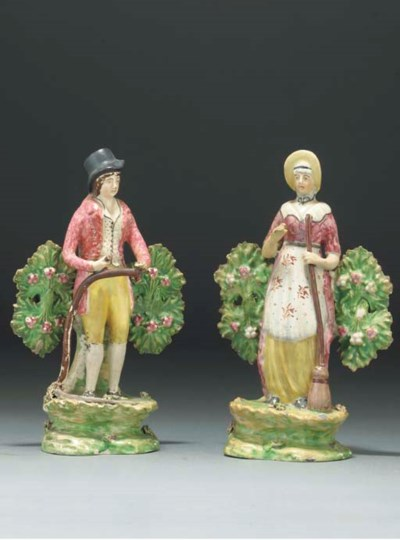 A pair of English pearlware fi