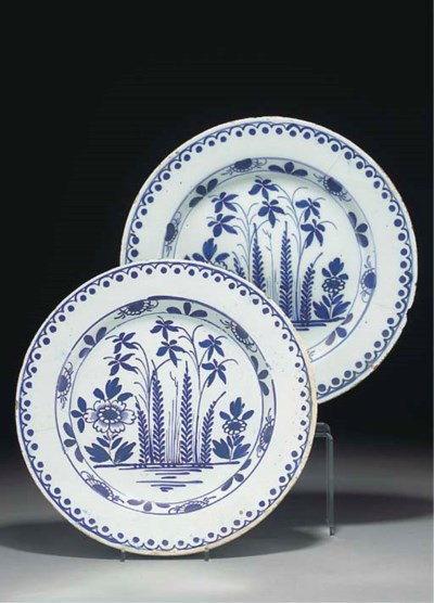 Five English delft large blue