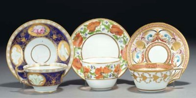 Two Derby teabowls and saucers