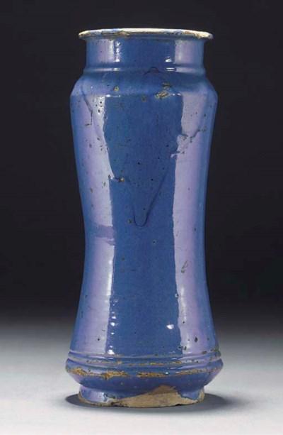 A Spanish maiolica blue-glazed