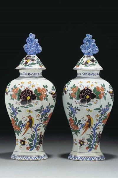 A pair of Delft polychrome vas