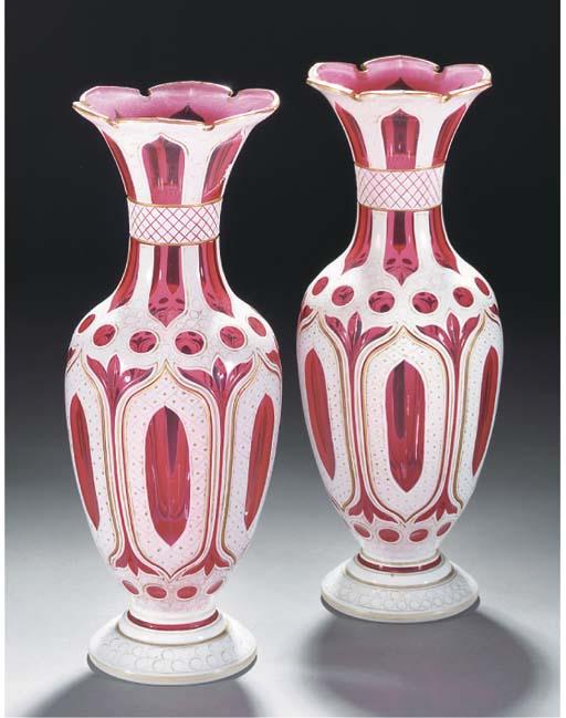 A pair of Bohemian pale-ruby a