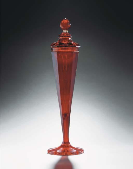 A Bohemian ruby goblet and cov