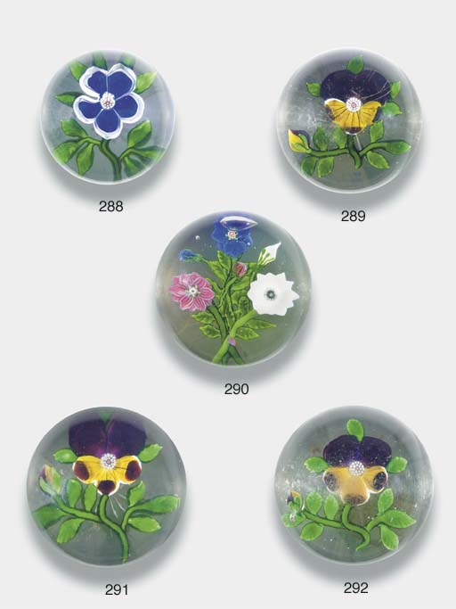 A Baccarat pansy weight