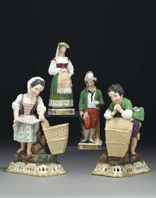 A pair of Jacob Petit figures