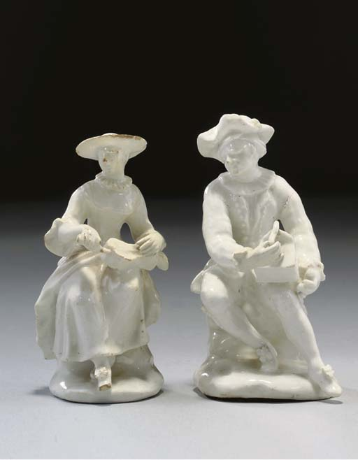 TWO BOW WHITE FIGURES OF MUSIC