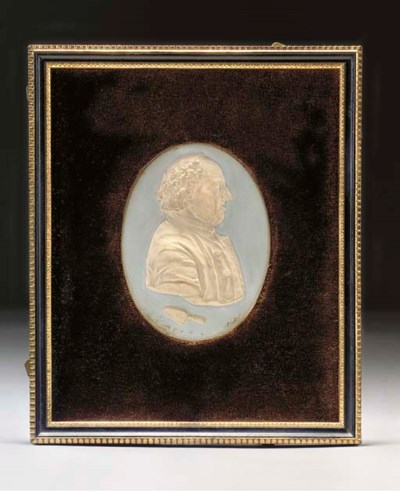 AN OVAL PLASTER PLAQUE OF EDWA