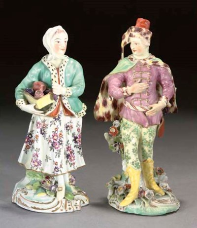 A PAIR OF DERBY FIGURES OF A T