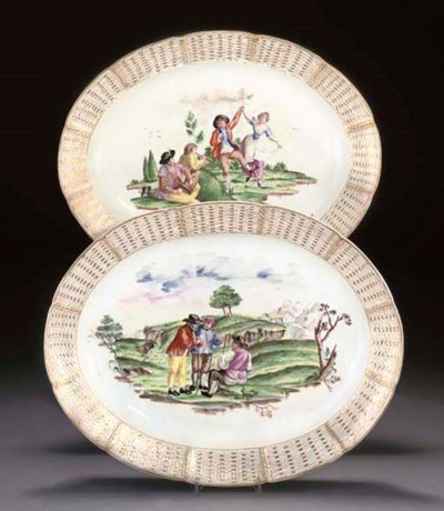TWO NYMPHENBURG OVAL SERVING-D