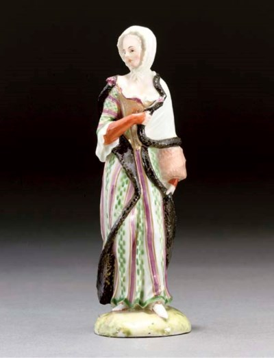 A LUDWIGSBURG FIGURE OF A LADY