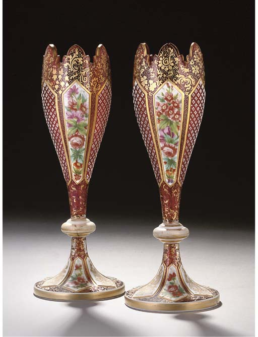 A PAIR OF BOHEMIAN RUBY AND WHITE OVERLAY VASES