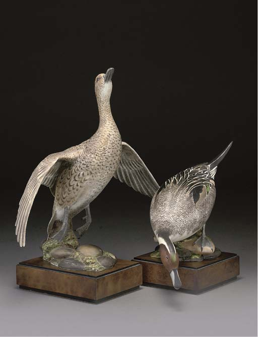 A PAIR OF ROYAL WORCESTER MODELS OF AMERICAN PINTAILS, BASES AND CERTIFICATES