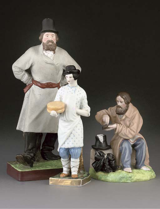 THREE RUSSIAN BISCUIT PORCELAIN FIGURES, TWO MODELS OF DUCKS, A PORCELAIN FIGURE AND A CONTINENTAL BISCUIT PORCELAIN FIGURE