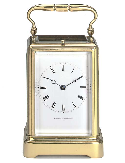A French brass striking and repeating carriage clock, circa 1840