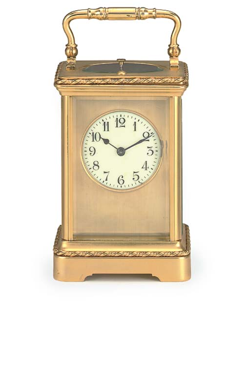 A French gilt-brass striking and repeating carriage clock, circa 1890