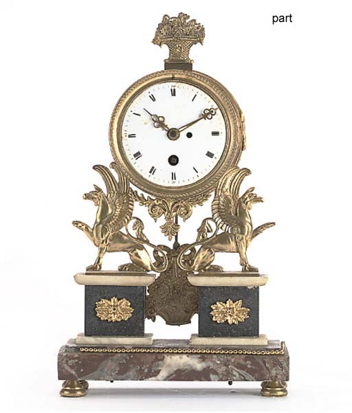 A French ormolu and marble portico mantel timepiece