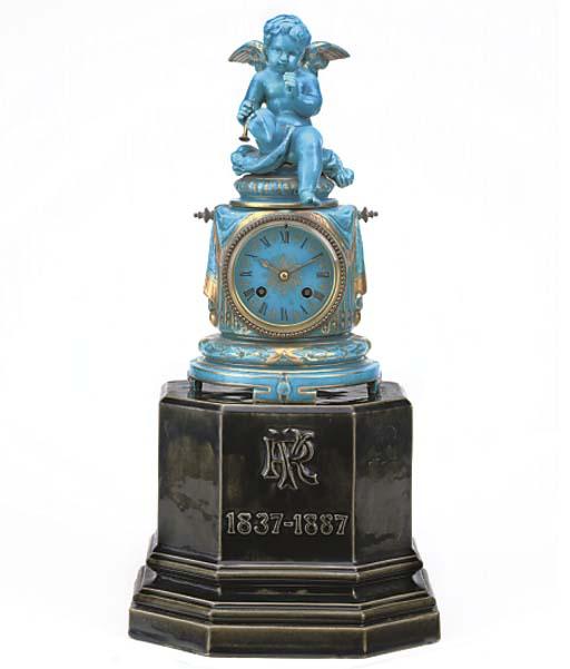 A Napoleon III turquoise-glaze