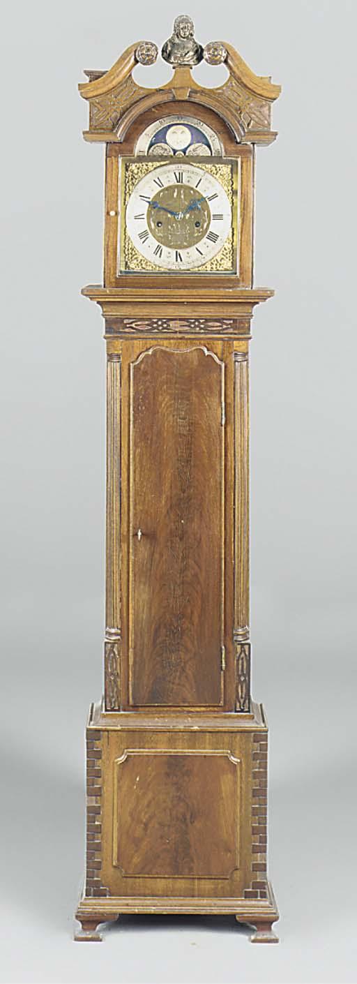 An English miniature mahogany longcase clock, 20th century