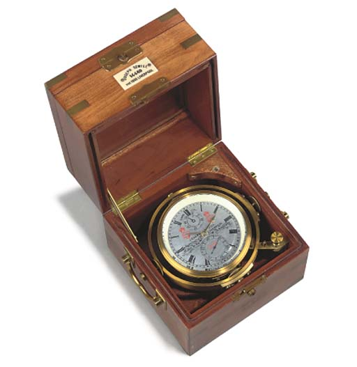 An English mahogany and brass-bound two-day marine chronometer, second half 20th Century