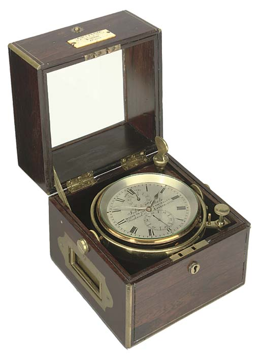 A Victorian rosewood and brass-mounted two-day marine chronometer, circa 1860