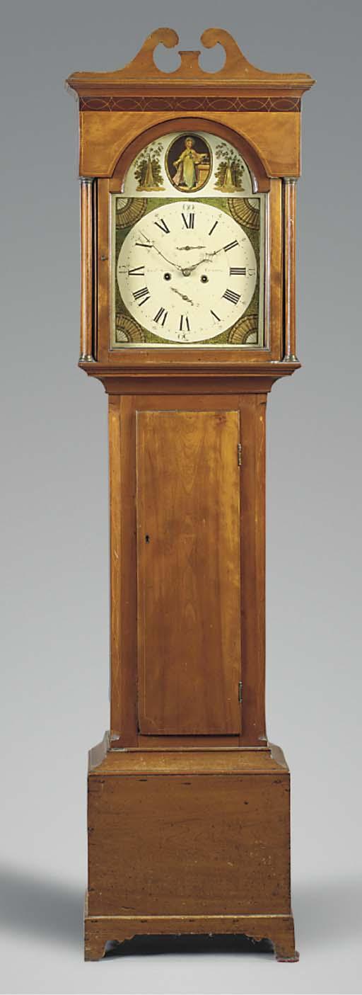 An early Victorian mahogany and inlaid longcase clock, circa 1840