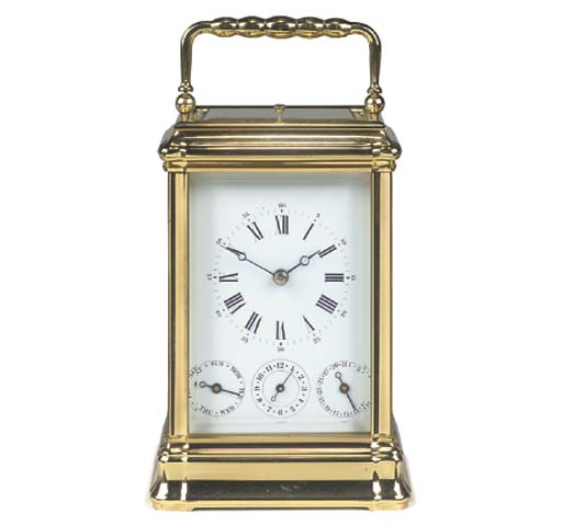 A French brass striking and repeating carriage clock with calendar and alarm, modern