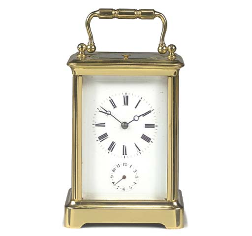 A French brass quarter-repeating carriage timepiece with alarm, circa 1880