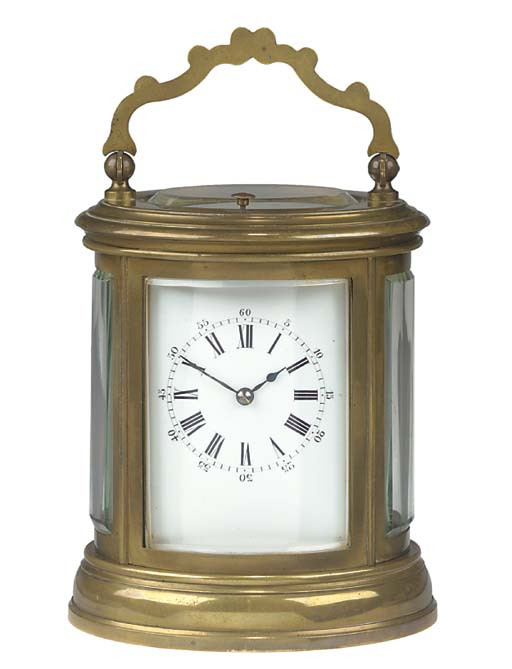 A French brass striking and repeating carriage clock, circa 1880