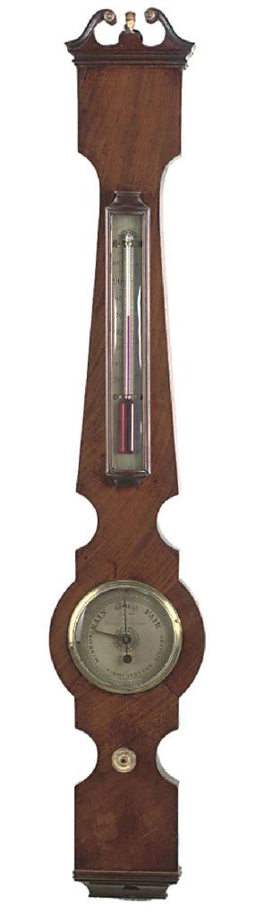 A George IV small mahogany wheel barometer, circa 1830