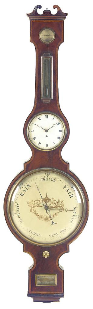 A Regency mahogany wheel barometer with timepiece, circa 1827
