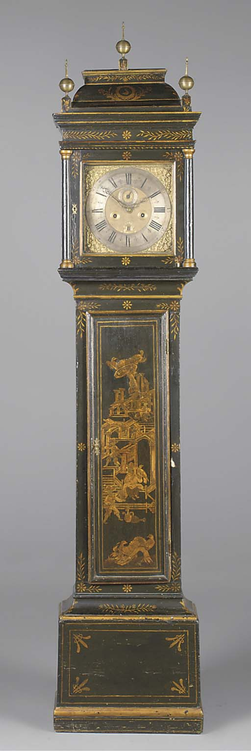 A Queen Anne japanned longcase