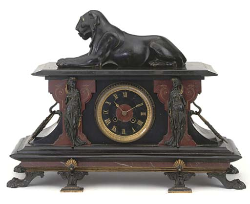 A French marmo nero Belgio, red marble and bronze-mounted striking mantel clock, circa 1880