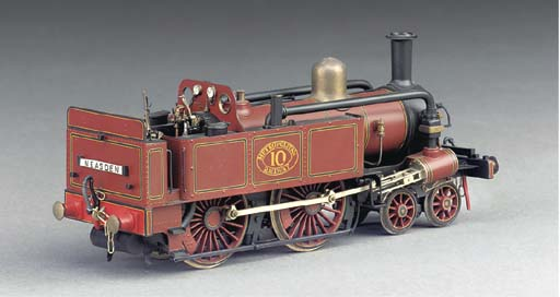 A finely detailed 7mm finescale 2-rail electric model of the Metropolitan Railway 4-4-0 condensing side tank locomotive No. 10,