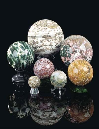Seven polished sea jasper sphe