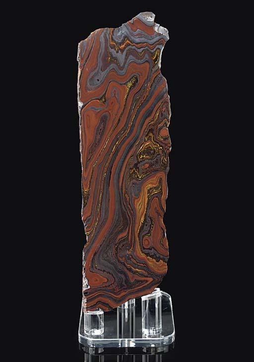 A large tiger iron slab,
