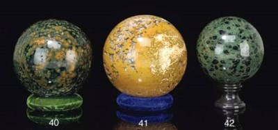 A large green sea jasper spher