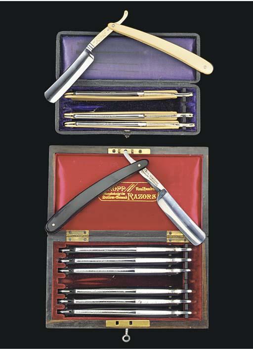 Two cased razor sets,