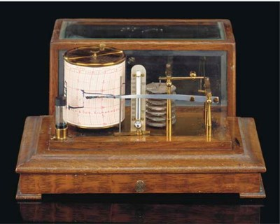 An oak-cased barograph,