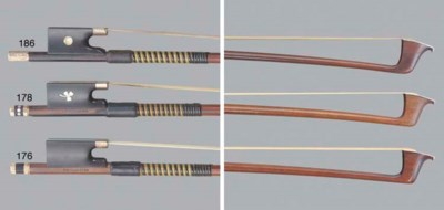 A gold-mounted violin bow by W